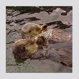 Sea Otters Holding Hands Tile Coaster