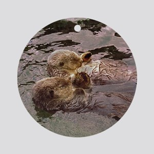 Sea Otters Holding Hands Ornament (Round)