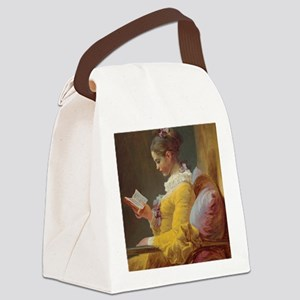 Young Girl Reading Canvas Lunch Bag