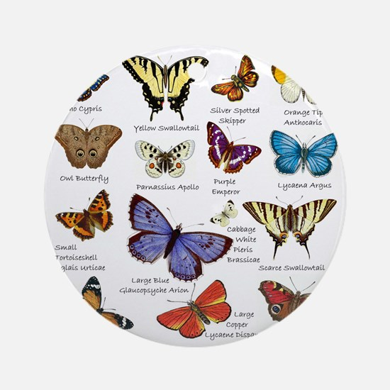 Butterfly Illustrations full colored Round Ornamen
