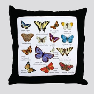 Butterfly Illustrations full colored Throw Pillow