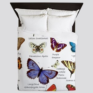 Butterfly Illustrations full colored Queen Duvet