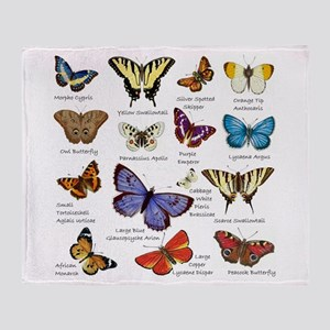 Butterfly Illustrations full colored Throw Blanket