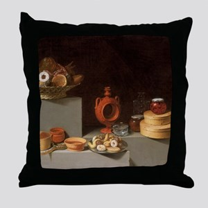 Still Life with Sweets and Pottery Throw Pillow