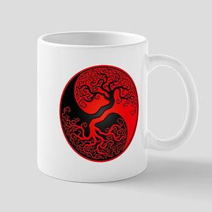 Red and Black Yin Yang Tree Mugs