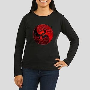 Red and Black Yin Yang Tree Long Sleeve T-Shirt