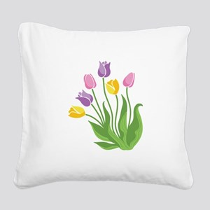 Tulips Plant Square Canvas Pillow