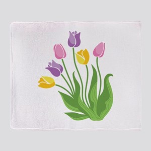 Tulips Plant Throw Blanket