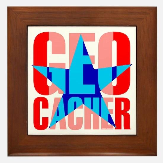 Star Geocacher Red Framed Tile