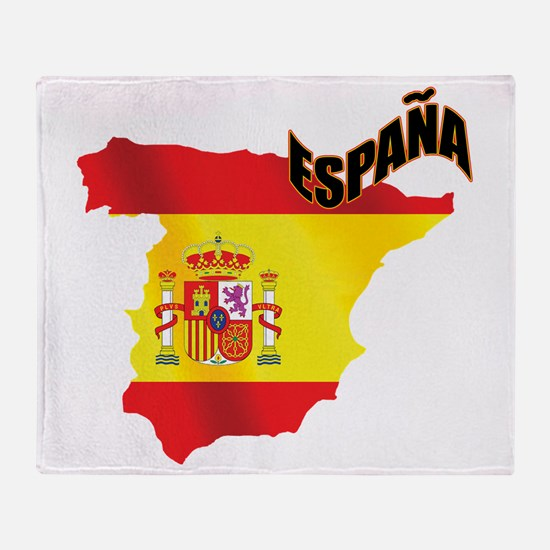 Flag Map of Spain Throw Blanket