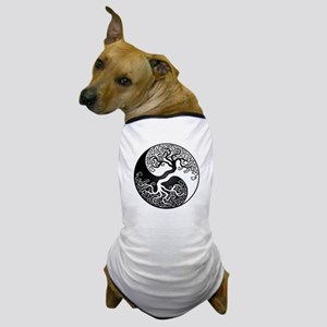 White and Black Yin Yang Tree Dog T-Shirt