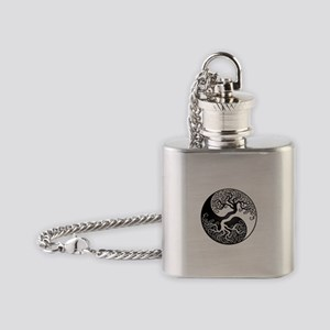 White and Black Yin Yang Tree Flask Necklace