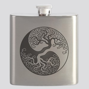 White and Black Yin Yang Tree Flask