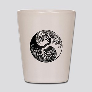 White and Black Yin Yang Tree Shot Glass