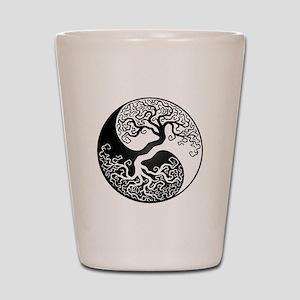 White and Black Yin Yang Tree Shot Glass