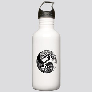 White and Black Yin Yang Tree Water Bottle