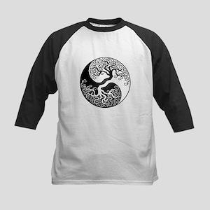 White and Black Yin Yang Tree Baseball Jersey