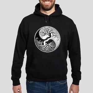 White and Black Yin Yang Tree Hoodie