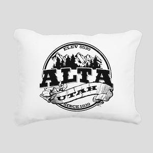 Alta Old Circle Black Rectangular Canvas Pillow