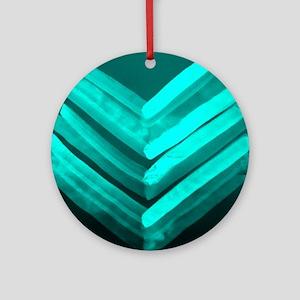 Chevron-Light blue Round Ornament