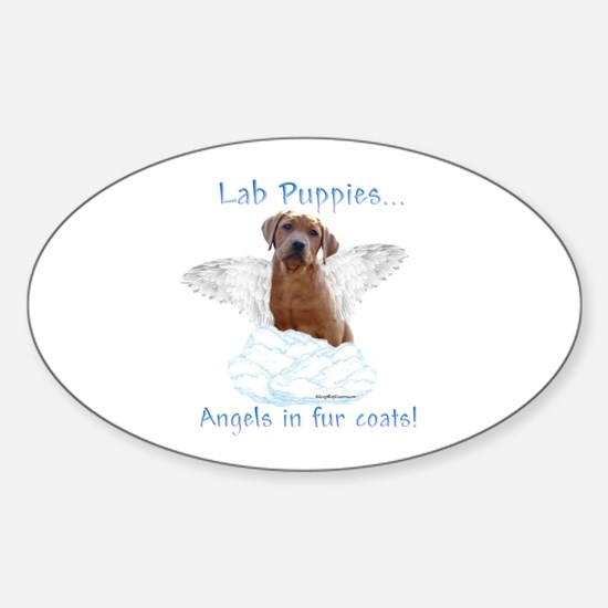 Lab Puppy Angel Oval Decal