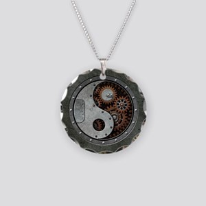 Steampunk Yin Yang Necklace Circle Charm