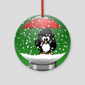 Snowglobe Penguin Round Ornament