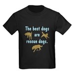 Best Dogs Are Rescue Dogs Kids Dark T-Shirt