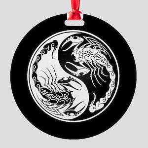 White Yin Yang Scorpions on Black Round Ornament