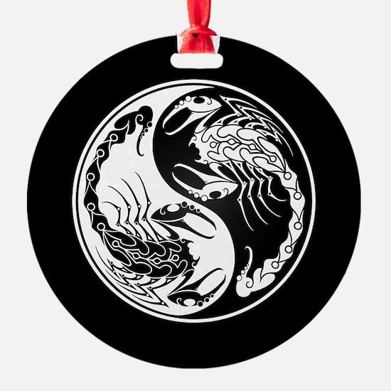 White Yin Yang Scorpions on Black Ornament