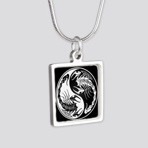 White Yin Yang Scorpions on Black Necklaces
