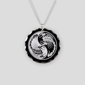 White Yin Yang Scorpions on Black Necklace Circle