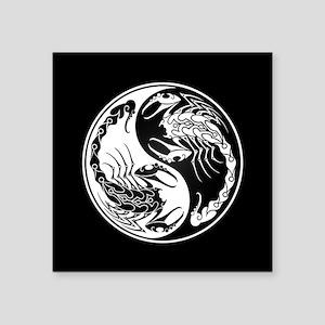 White Yin Yang Scorpions on Black Sticker