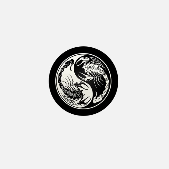 White Yin Yang Scorpions on Black Mini Button