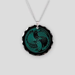 Teal Blue Yin Yang Scorpions on Black Necklace Cir