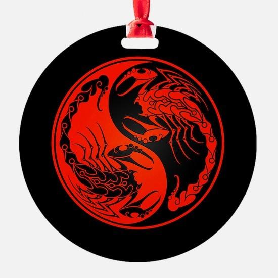 Red Yin Yang Scorpions on Black Ornament
