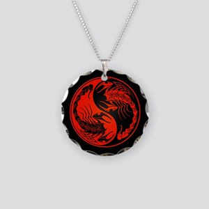 Red Yin Yang Scorpions on Black Necklace Circle Ch