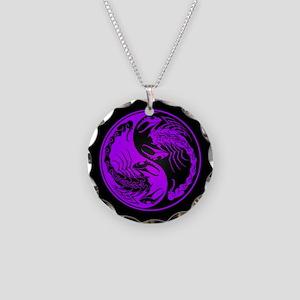 Purple Yin Yang Scorpions on Black Necklace Circle