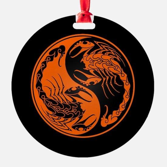 Orange Yin Yang Scorpions on Black Ornament
