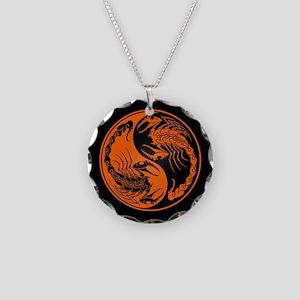 Orange Yin Yang Scorpions on Black Necklace Circle