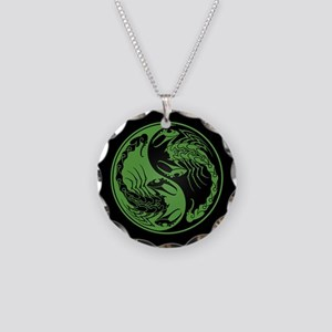 Green Yin Yang Scorpions on Black Necklace Circle