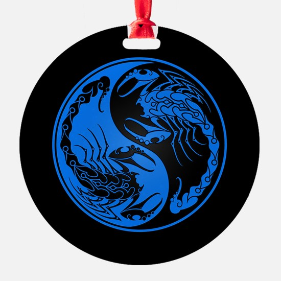 Blue Yin Yang Scorpions on Black Ornament
