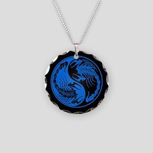 Blue Yin Yang Scorpions on Black Necklace Circle C