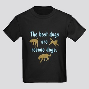 Best Dogs Are Rescues Kids Dark T-Shirt