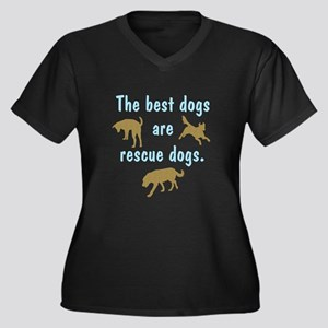 Best Dogs Are Rescues Women's Plus Size V-Neck Dar