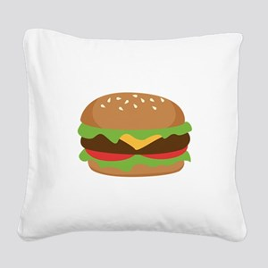 Hamburger Square Canvas Pillow