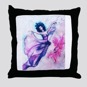 Ballerina in pink dress with pink fis Throw Pillow
