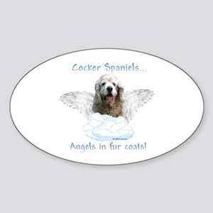 Cocker Angel Oval Sticker