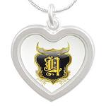 Q Monogram Silver Heart Necklace