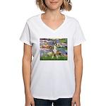 Lilies & Boxer Women's V-Neck T-Shirt